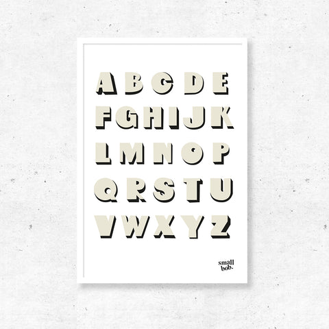 Kids Wall Art - Alphabet Print - White