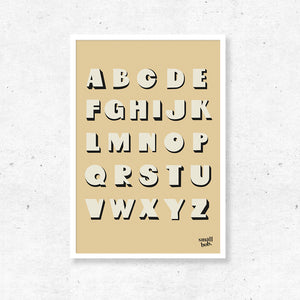 Kids Wall Art - Alphabet Print - Yellow