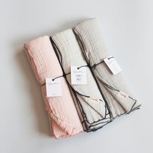 Swaddles are probably one of the most versatile items for babies and they make an essential and super useful baby gift. They grow into blankets, lovies, sun shields and play mats. Ultra soft and extra large, Pehr's full color swaddles are available in three beautiful colours. You can never have enough swaddles!