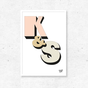 Wall Art - Couple Initial Print