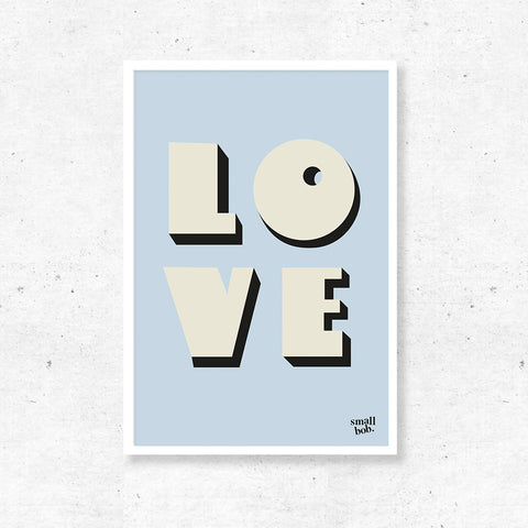 Wall Art - LOVE Print - Blue