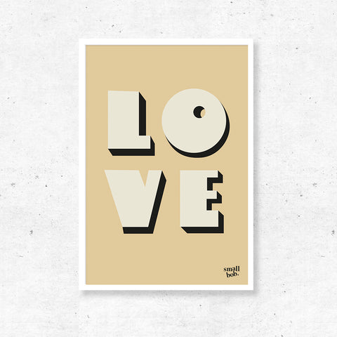 Wall Art - LOVE Print - Yellow