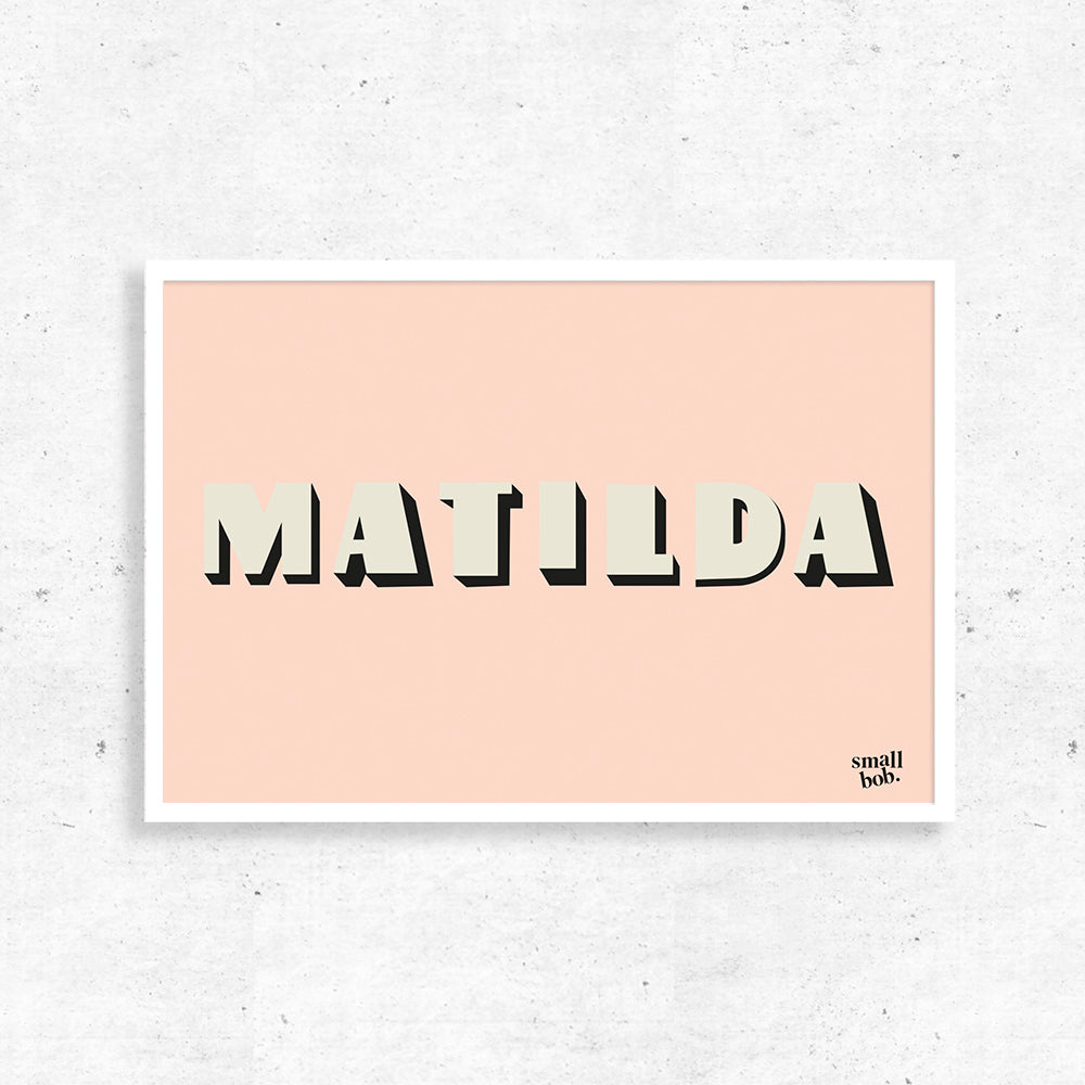Nursery Art - Personalised Name Print - Pink