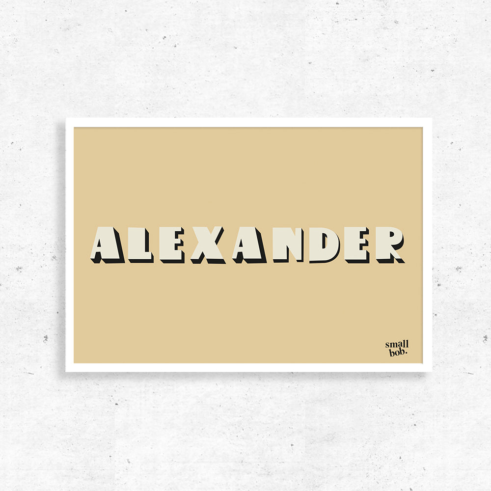 Nursery Art - Personalised Name Print - Yellow