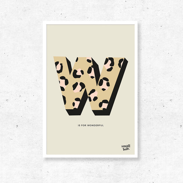 Wall Art - Initial Print - Leopard Yellow