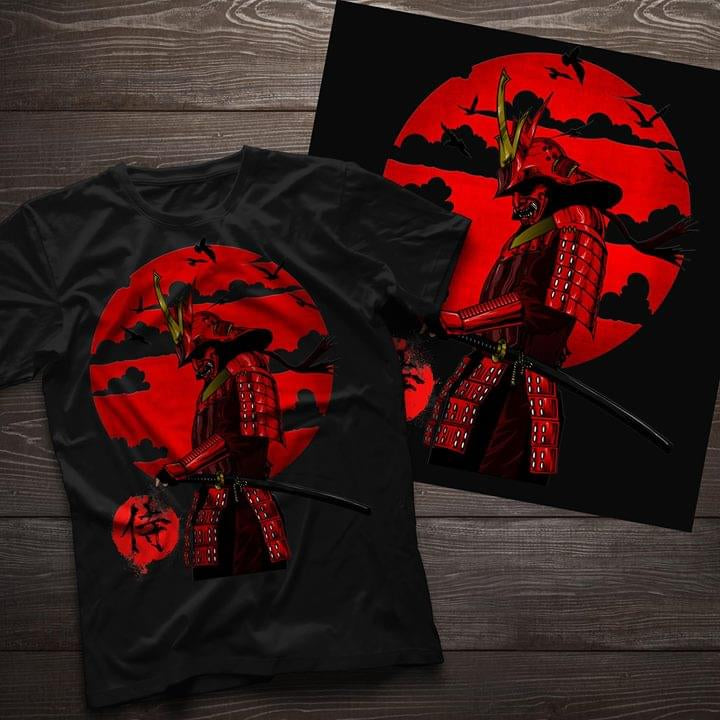 (TSM49) samurai T-Shirt - man with red sun
