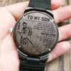 Samurai WOODEN WATCH - TO MY SON, LOVE mom