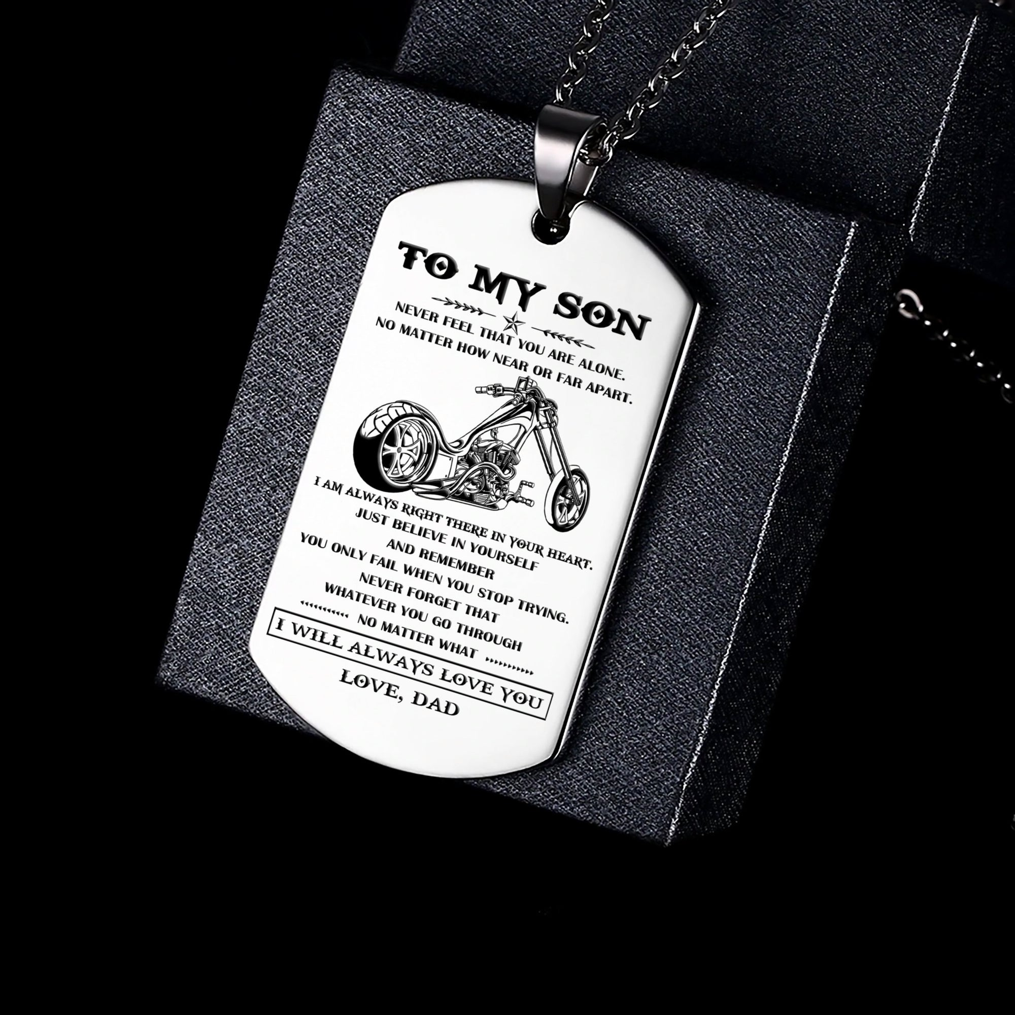 (DL09) LVL BIKER SILVER ENGRAVED DOG TAG - DAD TO SON - I  WILL ALWAYS LOVE YOU