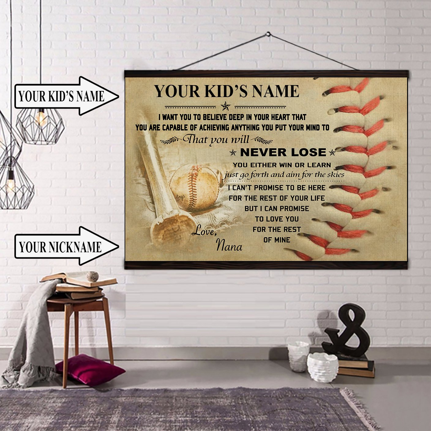 (CT210) BASEBALL canvas with the wood frame - Custom