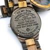 ENGRAVED WOODEN WATCH - to my son wherever your journey love mom 3
