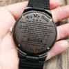 ENGRAVED WOODEN WATCH - to my son i wish you the strength love dad