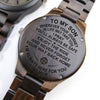 ENGRAVED WOODEN WATCH - to my son wherever your journey love mom 7