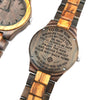 ENGRAVED WOODEN WATCH - to our son wherever your journey love mom and dad 2