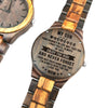 ENGRAVED WOODEN WATCH -  to my son wherever your journey love mom 4