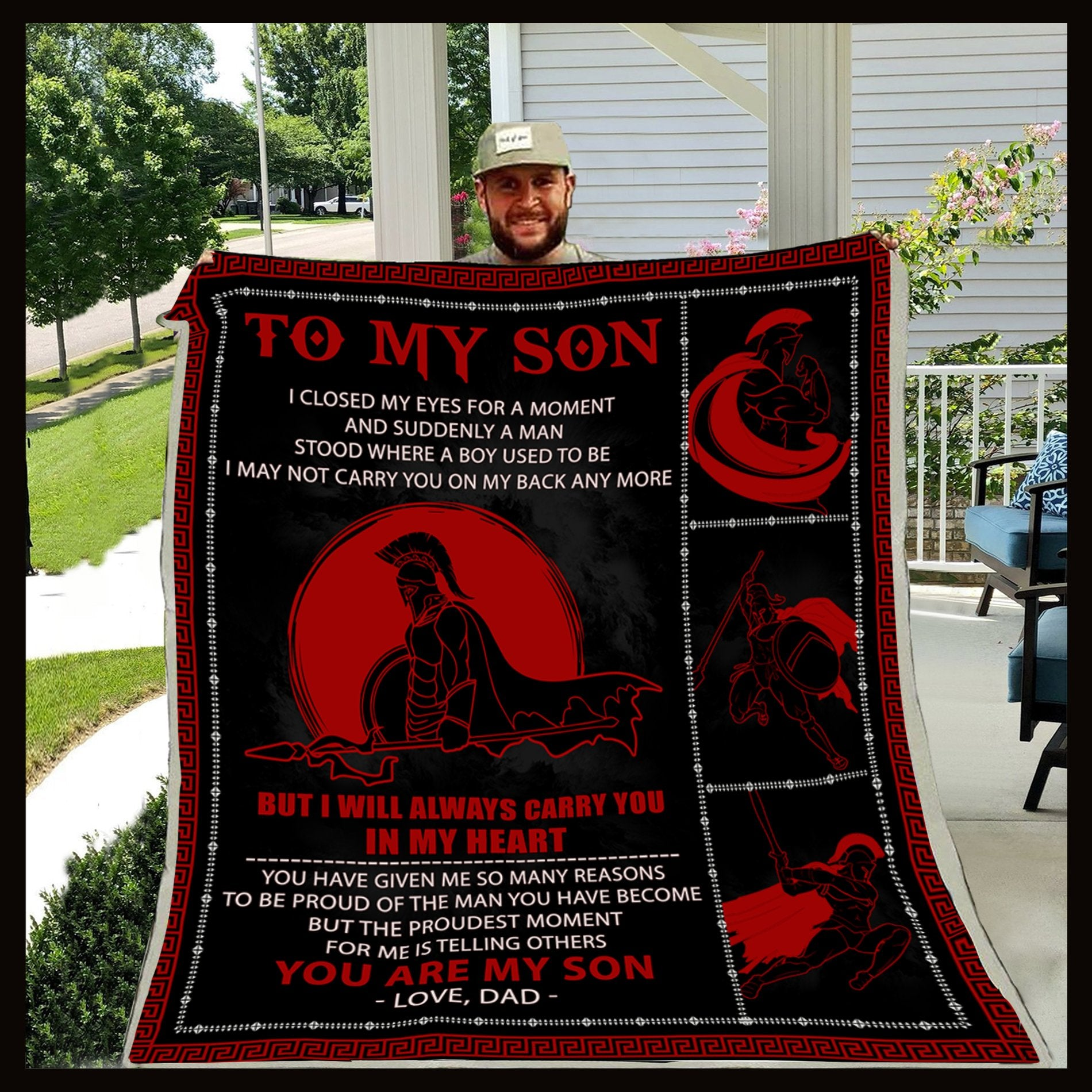 (CA83) Spartan blanket - Dad to son - You are my son
