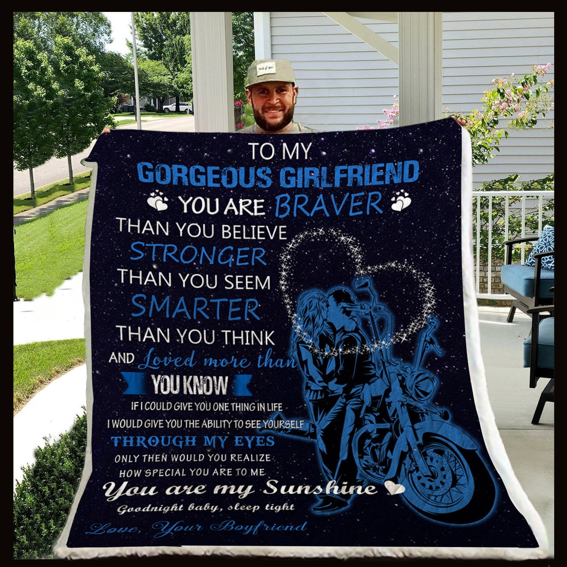 (QL440) LVL Biker blanket - To my gorgeous girlfriend - You are braver