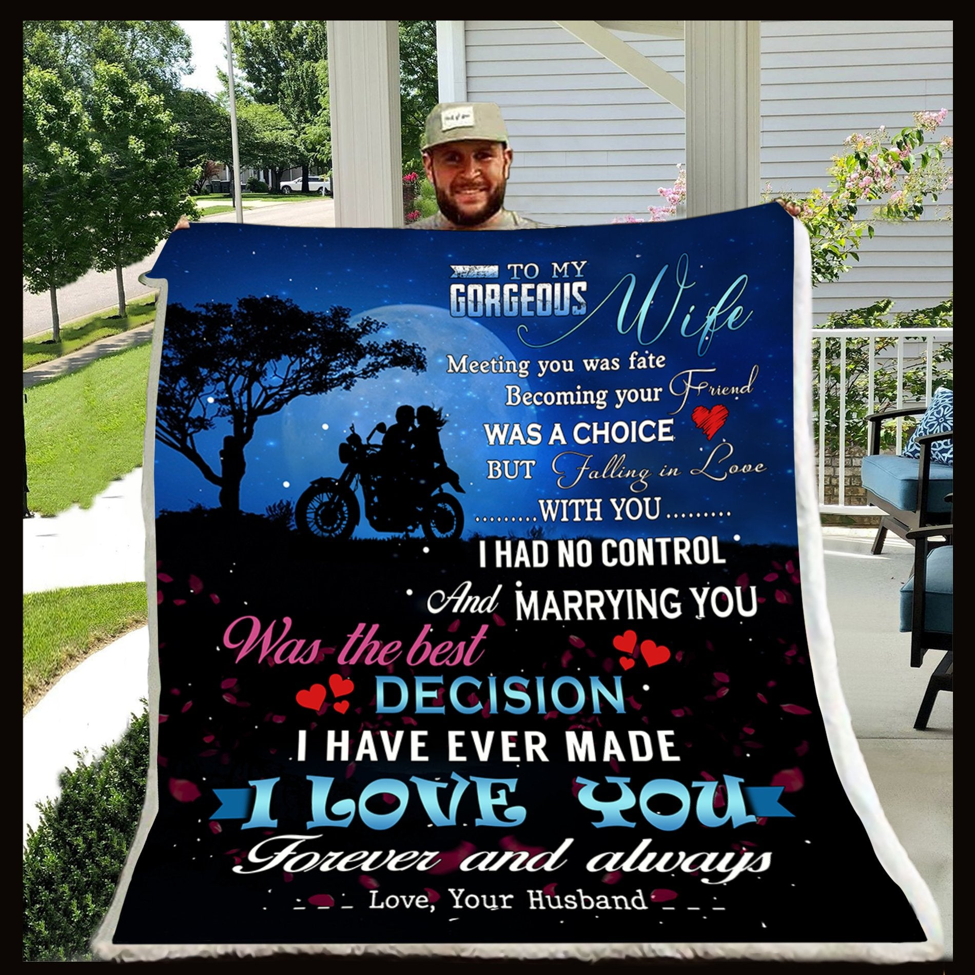 (CL53) LVL Biker blanket - Husband to wife - Meeting you was fate