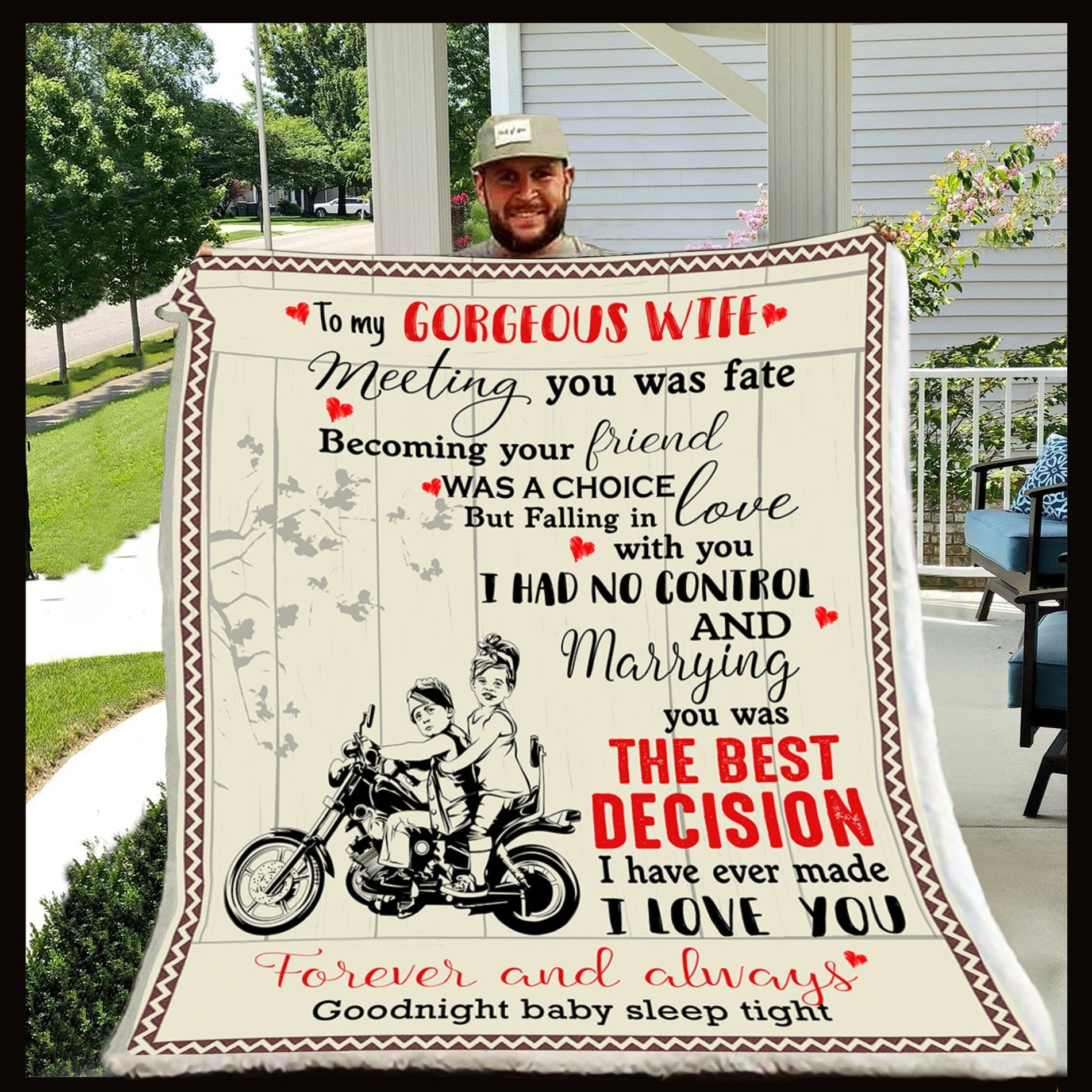 (CL06) LVL Biker blanket - To my gorgeous wife - Meeting you was fate