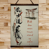 (CV363) SAMURAI CANVAS WITH THE WOOD FRAME - FALL DOWN SEVEN TIMES