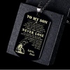 (DT45) ENGRAVED SPARTAN BLACK DOG TAG ENGRAVED - DAD TO SON - NEVER LOSE