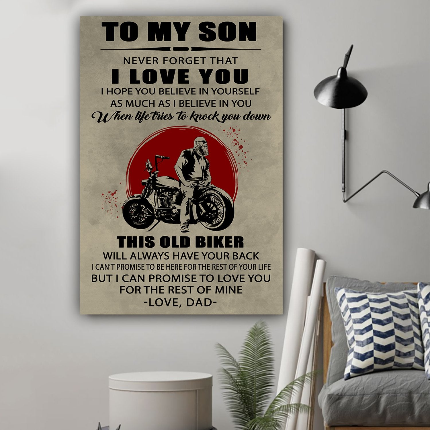 (L170) Biker poster - Dad to son - This old biker