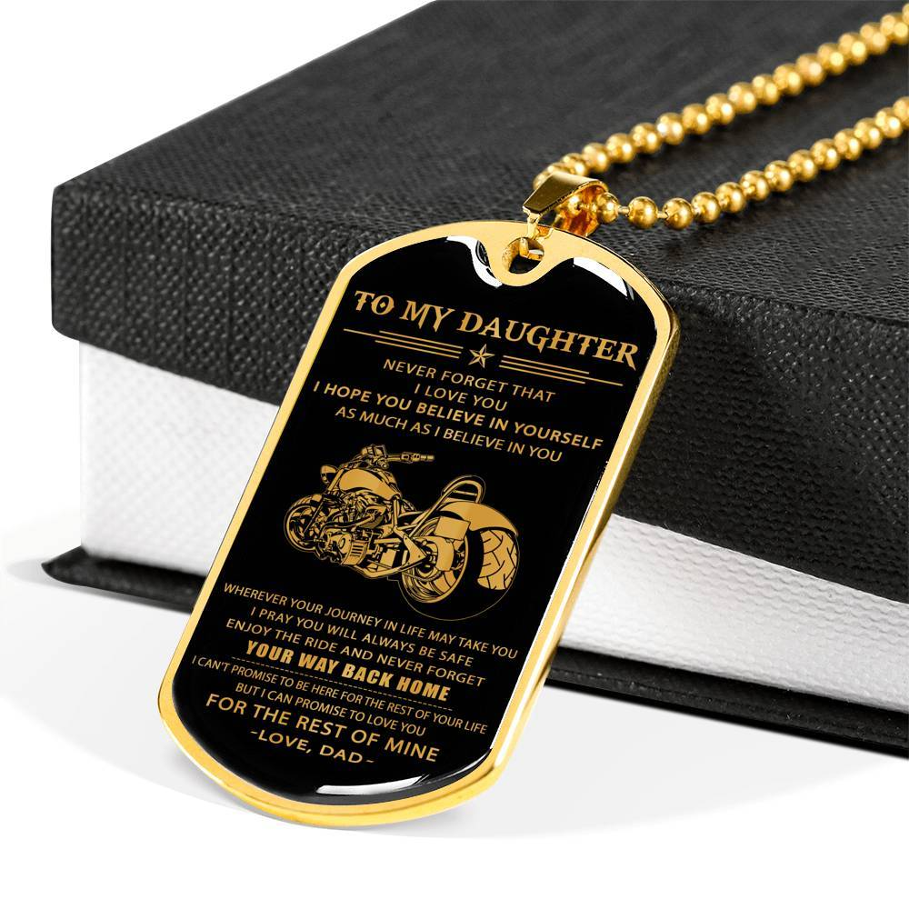 (DL25) Biker gold dog tag - Dad to daughter - Your way back home
