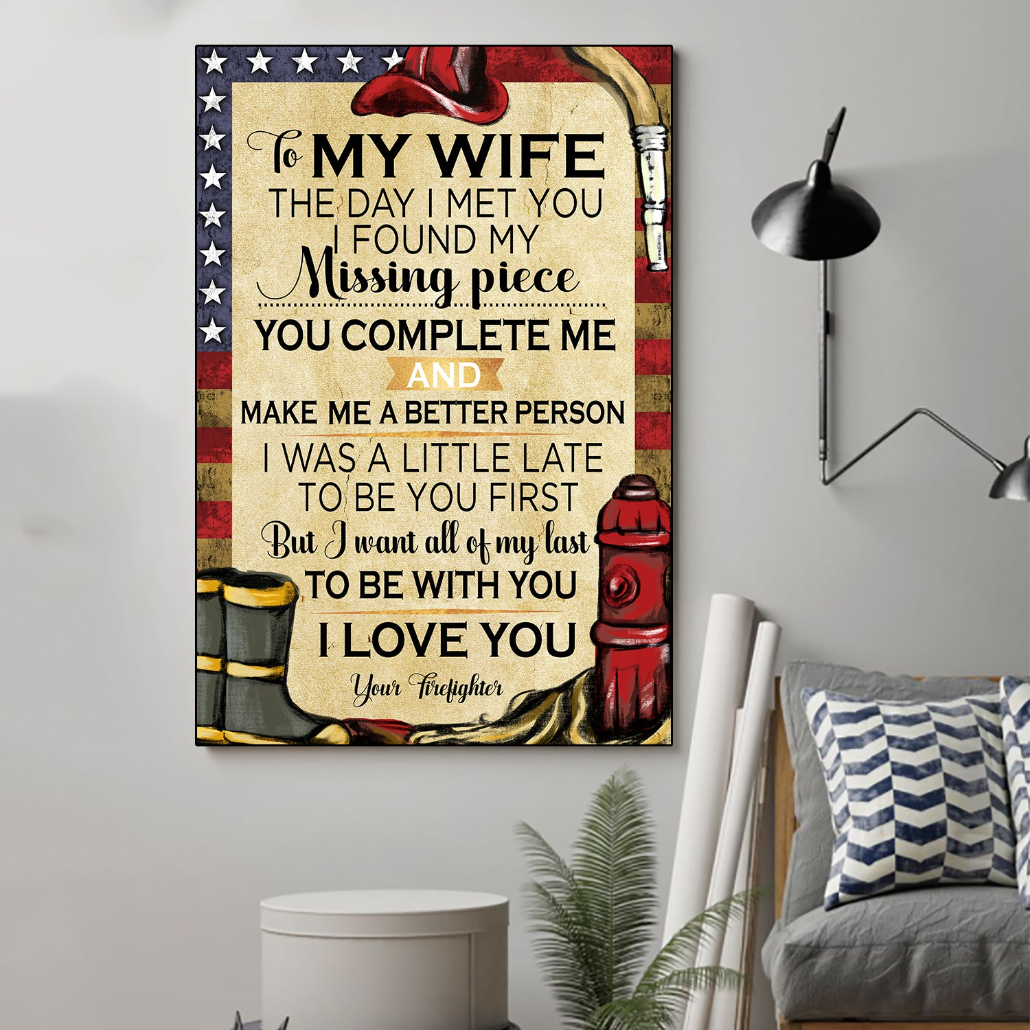 (cv330) Firefighter Poster - To my wife. Today I met you