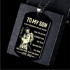 (DT78) SAMURAI BLACK ENGRAVED DOG TAG - DAD TO SON