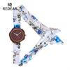 High Quality Wood Watch - Women Watch with Flower Cloth Strap 2018 Personality Diamond Surface Girl Gift