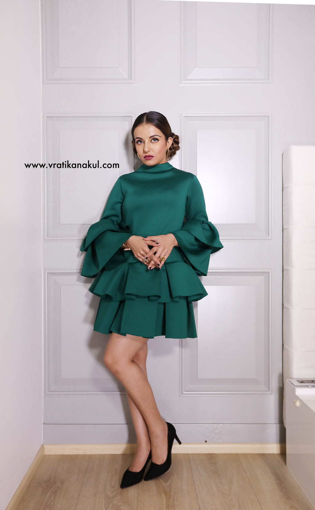Emerald green flounce dress