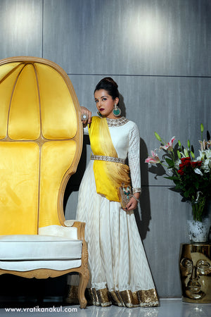 Crown Jewel - Ivory/Gold Anarkali - Indian - vratikanakul.com
