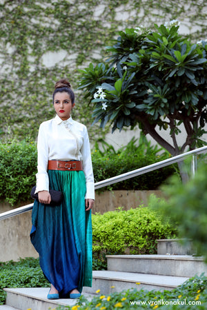 Crystal Silk Shirt & Asymmetric draped trousers (combo) -  - vratikanakul.com