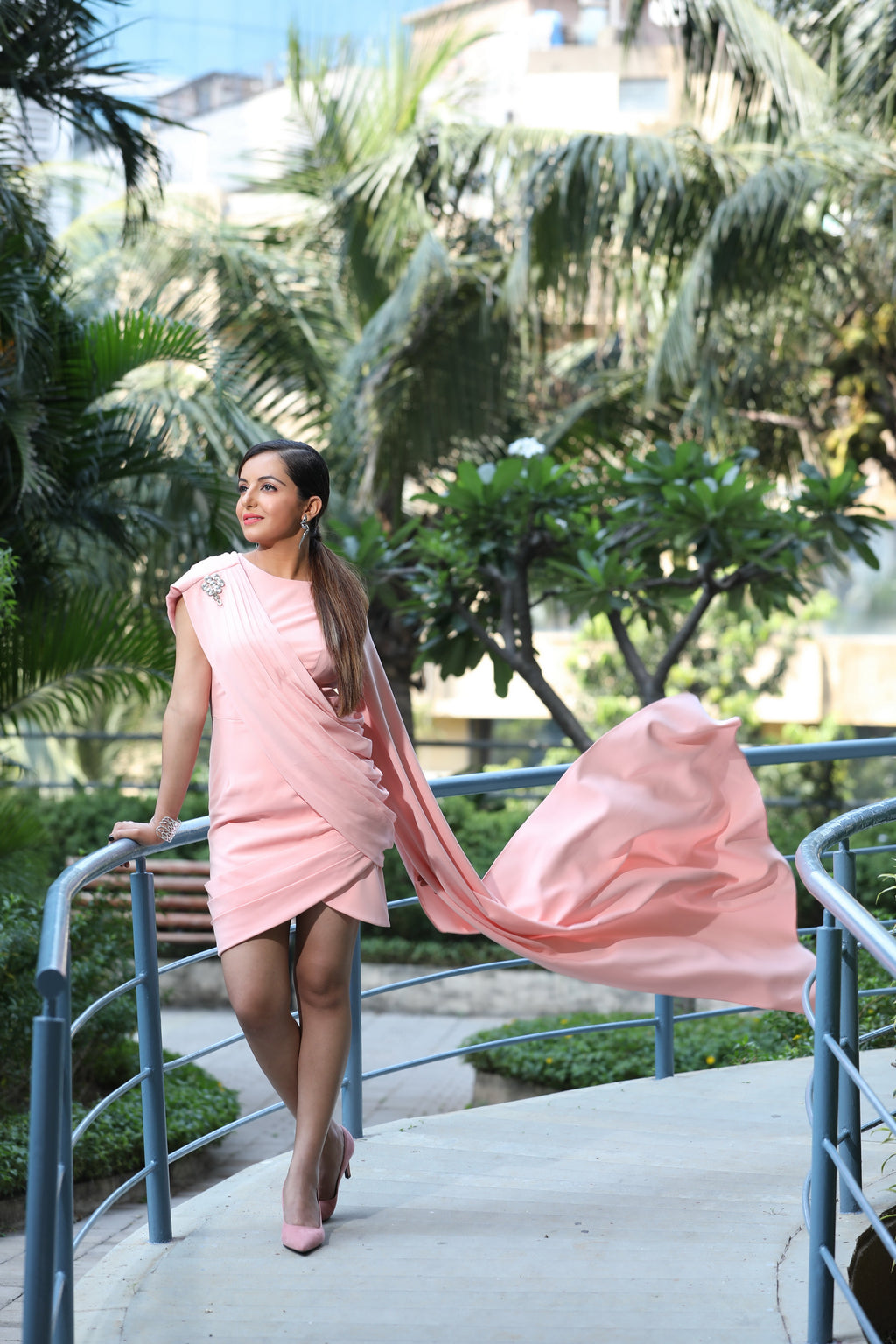 Peach Draped Fusion Dress