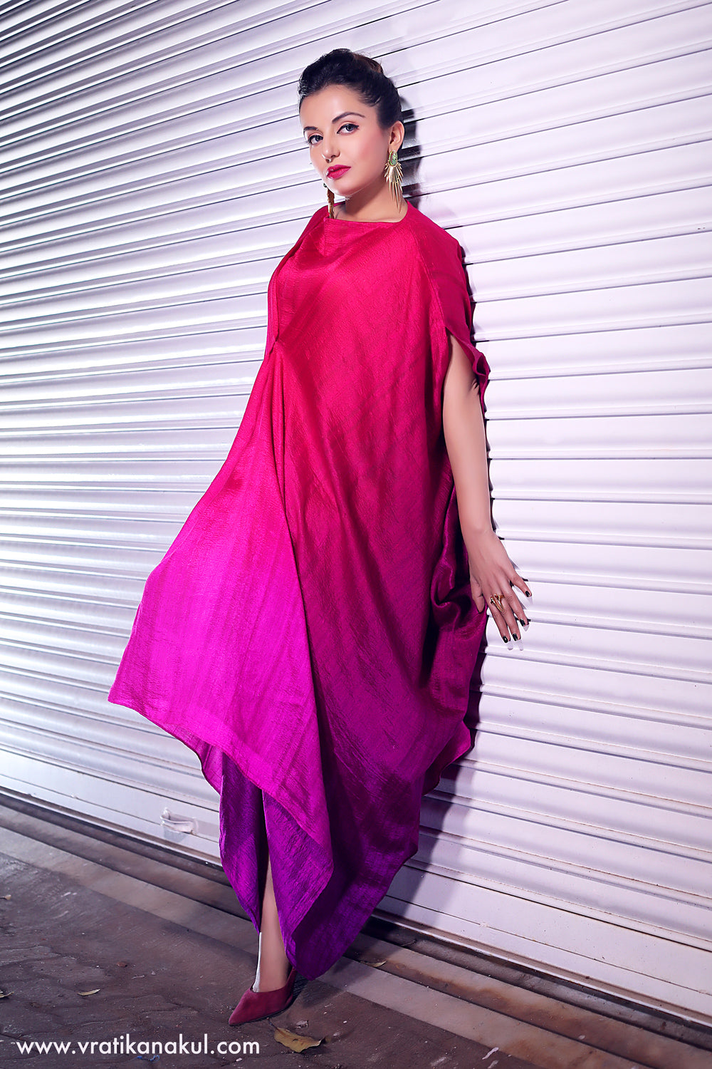 Pink Gradient Draped Fusion Dress - Western - vratikanakul.com