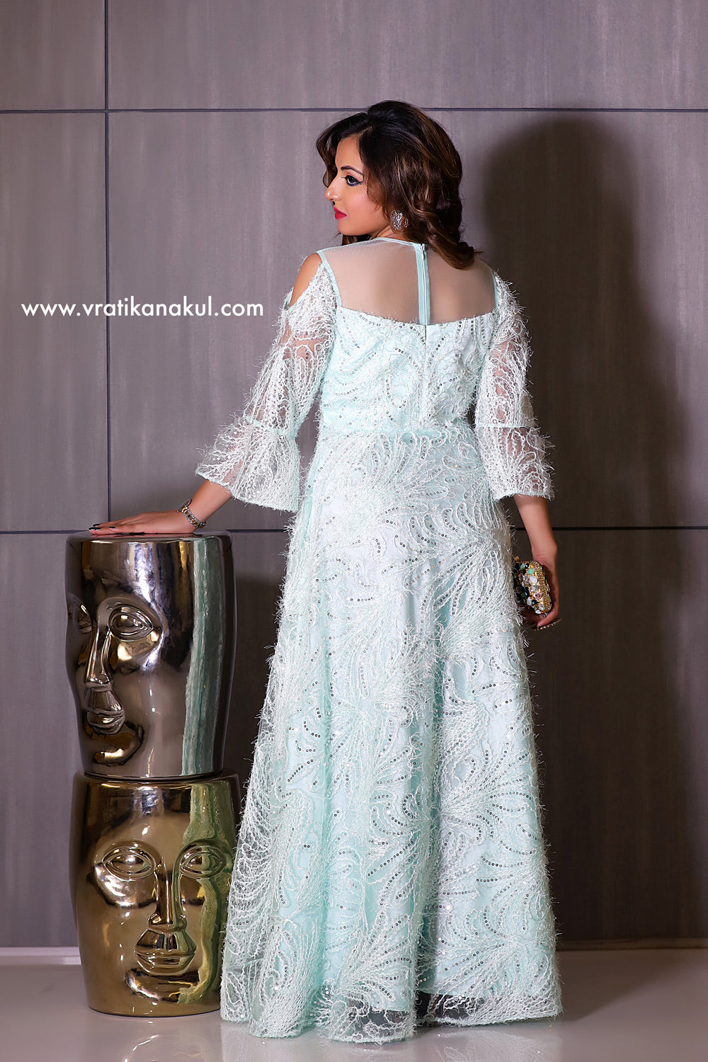 Feather & Sparkle Evening Gown - The Dream Edition - Indian - vratikanakul.com