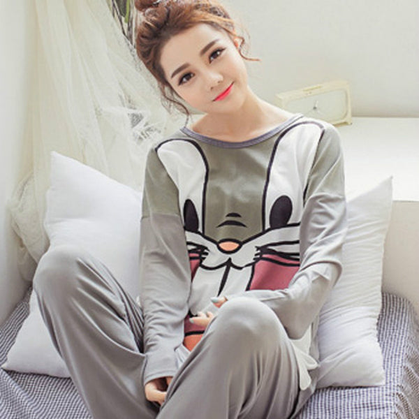 women Long sleeve pajamas sets Cartoon bugs bunny milk silk sleepwear lady spring autumn nightwear pajamas sets Free shipping