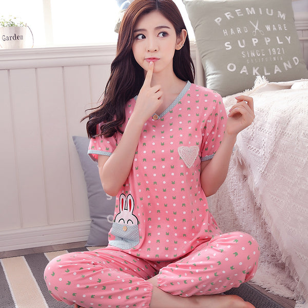 100% Cottom women summer short sleeve sleepwear Cute cartoon bunny princess pyjamas lounge nightwear plus size M-XXXL homewear