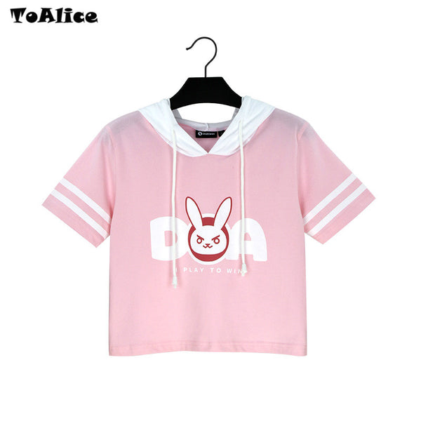 Anime D.VA Cosplay Short Sleeve Hoodie Women Rabbit Ears Hooded Tee Shirts Pink Cotton Hoodie T-Shirt Lolita Girls Tops
