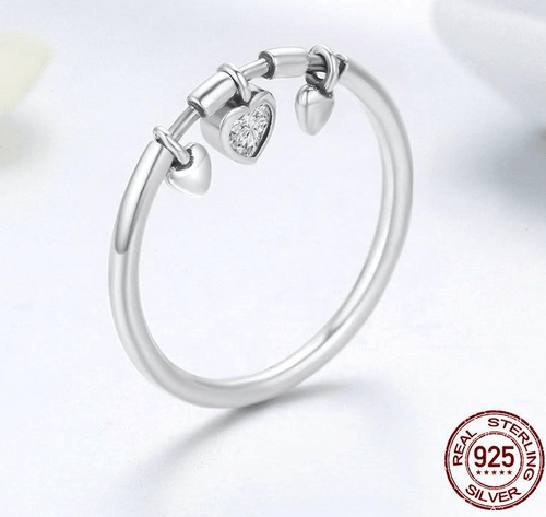 Rings Glittering Heart Ring - 925 Sterling Silver GiveMe-Gifts