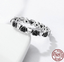 Black and Pure Heart Ring - 925 Sterling Silver