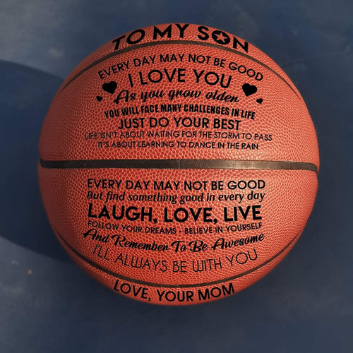 Mom To My Son I Love You Engraved Basketball