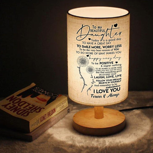 Table Lamp To My Daughter - To Smile More Worry Less LED Wooden Table Lamp GiveMe-Gifts