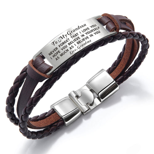 Bracelets Grandma To Grandson - I Believe In You Leather Bracelet Brown GiveMe-Gifts