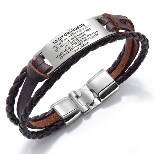 Bracelets Nana To Grandson - I Love You Leather Bracelet Brown GiveMe-Gifts