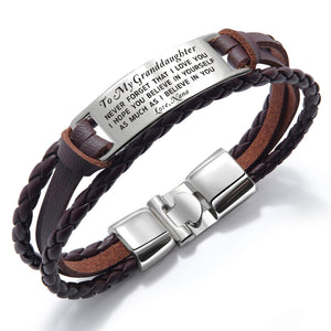 Bracelets Nana To Granddaughter - I Believe In You Leather Bracelet Brown GiveMe-Gifts