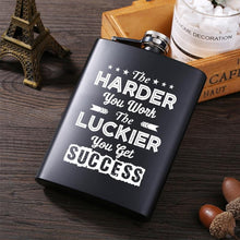 The Luckier Laser Engraved Hip Flask