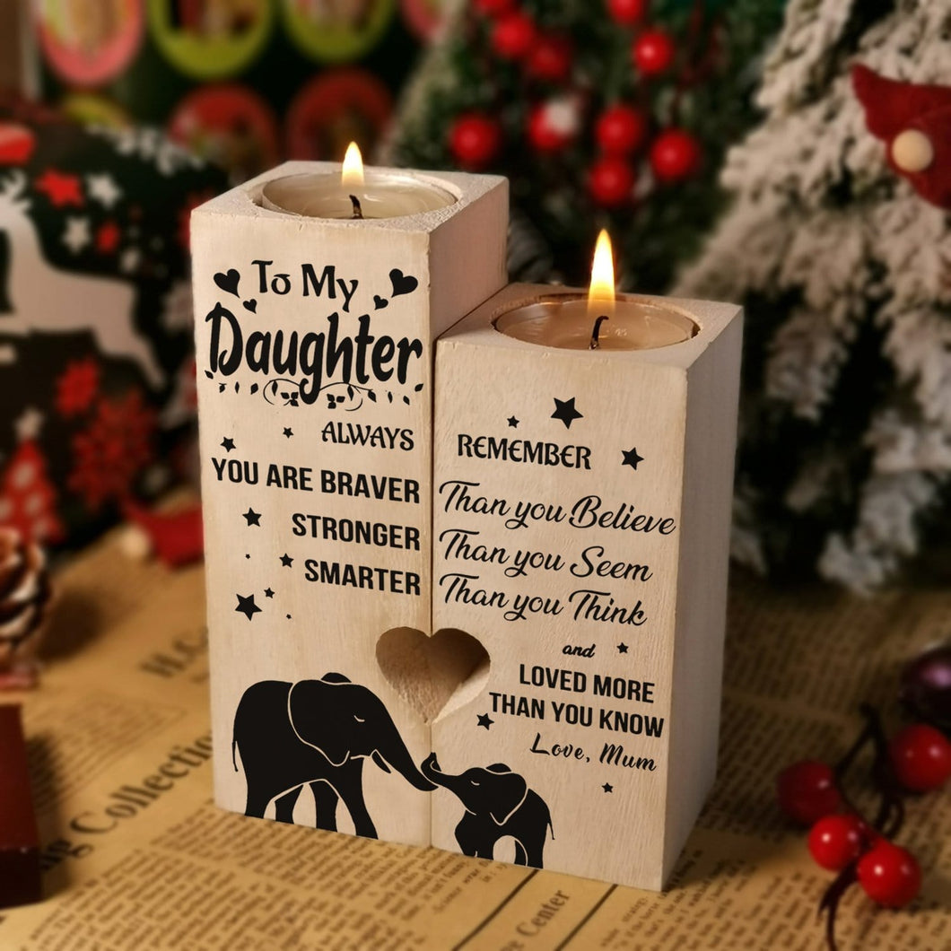 Mum To Daughter - You Are Loved More Than You Know Wooden Candle Holders