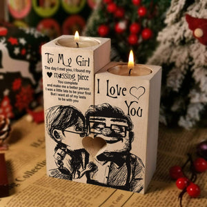 To My Girl - I Found My Missing Piece Wooden Candle Holders