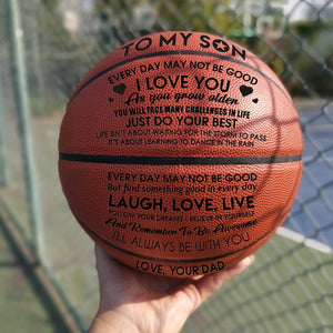 Dad To My Son I Love You Engraved Basketball