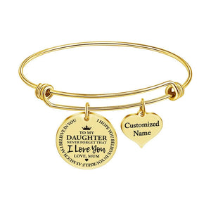 Mum To Daughter - I Love You Customized Name Bracelet